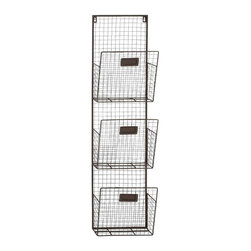 Benzara - Three Tier Metal Wire Wall Unit - Three tier metal wire wall unit. Want something that helps you store all your everyday useful things in one place? Then this three-tire metal multi-purpose wall unit is exactly what you are looking for. Some assembly may be required.