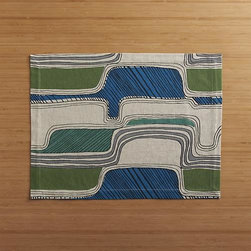 Oxbow Blue Placemat - Rivers of tonal greens and blues meander a graphic topography on neutral chambray, bringing dynamic design and saturated color to the modern table.