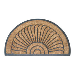 Entryways - Shell Half Round Recycled Rubber Bootscraper Doormat - Intricate in design, this mat is crafted with the perfect combination of coconut fiber and recycled rubber. The result is a bootscraper designed to stand the test of time. It's tough enough to scrape boots on, yet unmistakably elegant to impress all your visitors.