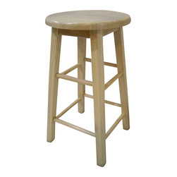 Linon - Linon 24 Inch Counter Stool with Round Seat in Natural - Linon - Bar Stools - 98100NAT01KD - Create a contemporary or classical look in your kitchen, dining or home pub area with the sleek shape and style of this classic stool. Solid wood legs give this courtly stool additional strength ensuring years of everyday use. The legs are slightly tapered for a more elegant look, while the four foot rails provide stability and comfort. This stool is durable enough for a busy kitchen, yet elegant enough for a more formal setting.