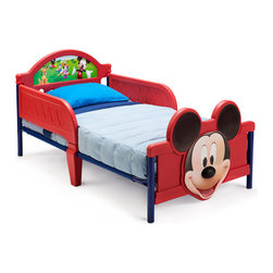 Adarn Inc - Safe Cute Low Profile Plastic Metal Mickey Mouse Toddler Bed Children Furniture - This wonderful brand new Mickey Mouse Toddler bed is the ideal bed to transition your little Mousekeeper from crib to big boy bed. Constructed with a high quality plastic and a metal frame, the bed is both lightweight and sturdy providing safe sleeping and exceptional durability. The Mickey Mouse Bed features Mickey Mouse and other Mousekeepers making sleep time fun and exciting. Meets all JPMA safety requirements. Some assembly required. Compliments other Mickey Mouse items sold separately.