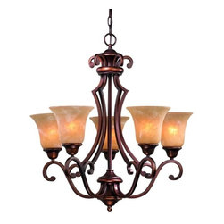 Design Classics Lighting - Five Light Old World Bronze Chandelier  - 305-133 - This five-light chandelier features a rich bronze finish with Calais glass shades that will bring a soothing warmth to your foyer or dining room. Comes with six feet of chain and seven feet of wire. Takes (5) 100-watt incandescent A19 bulb(s). Bulb(s) sold separately. UL listed. Dry location rated.