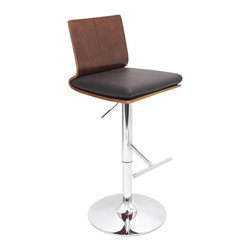 Lumisource - Adjustable Barstool in Walnut - Swivel-seat barstool rests on a height-adjustable base. Simple and modern footrest. Comfortable and clean. Black leatherette cushion. Chrome base. Made from PU, chrome, foam and wood. Seat height: 28 in. to 33 in.. Overall: 18 in. W x 17.5 in. D x 38 in. - 43 in. H (19 lbs.). Assembly InstructionsChic and stylish? The Koko Barstool is for you! Perfect for your kitchen or bar!