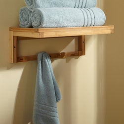Banyan Bamboo Towel Rack With Hooks - Perfect for adding extra storage to a bathroom, the Banyan Bamboo Towel Shelf features a row of hooks for drying multiple towels or for hanging robes.