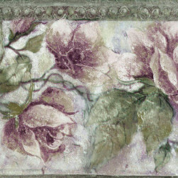 York Wallcoverings - Green Leaf Pink Roses  Wallpaper Border - Wallpaper borders bring color, character and detail to a room with exciting new look for your walls - easier and quicker then ever.