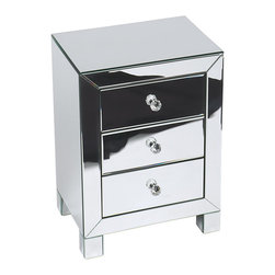 Office Star - Office Star Avenue Six Reflections 3-Drawer Accent Table in Silver Mirror - Reflections 3 drawer accent table in silver mirror