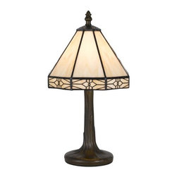 Cal Lighting - Cal Lighting BO-2385AC Tiffany 1 Light Pedestal Base Table Lamp - Features: