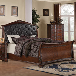 "Wildon Home � - Martone Sleigh Bed - Traditional elegance is brought to a whole new level with this traditional bed. From scroll posts to a curved headboard with ornate wood carved details this piece exudes a luxurious sense. A faux leather tufted headboard makes it easy to sit up and read a book or watch some television. The French front dovetail and square back drawers create a solid unit for storage and every day use. From the warm brown cherry finish to the intricate details, this bed is sure to become a standout item in your bedroom. Features: -Transitional style.-Box spring or foundation not required.-Finish: Brown cherry.-Martone collection.-Distressed: No.-Collection: Martone.Dimensions: -Queen Dimensions: 60""H x 67""W x 97""D.-King Dimensions: 60""H x 83""W x 97""D.-California King Dimensions: 60""H x 79""W x 101""D.-Overall Product Weight: 69.22 lbs."