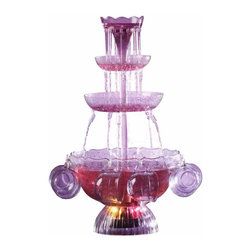 Nostalgia Products - Lighted Party Fountain Beverage Set - Includes eight 6-ounce cups. Three-tiered. Lighted cascading tower. Sturdy construction. Dazzling glow illuminates base. Serves twenty-four cups. Capacity: 1 gallon. Wattage: 24 W. Warranty: 90 days. Made from plasticThe Vintage Lighted Party Fountain Beverage Set creates a beautiful display for any fun occasion. Celebrate in style with the illuminated punch bowl party fountain with waterfall effect as friends and family enjoy watching the lighted cascade of beverage. No ladle is needed as guests can serve themselves from the extension spouts.