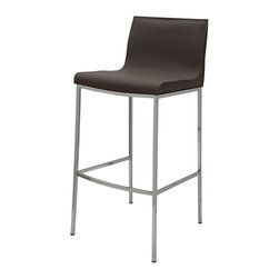 Nuevo - Colter Leather Counter Stool in Mink - Chrome Steel Frame. Leather Upholstery. CFS Foam. Tone-On-Tone Stitching. Tone-Tone-Edging. Color:Mink. 18 in. L x 19.5 in. W x 25.75 in. H ( 18.7 lbs.). Seat Height: 25.75 in.. Seat Depth: 14 in.