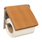 Toilet Tissue Dispenser MDF Bamboo Finish - This toilet tissue dispenser for bathrooms is in medium-density fiberboard (MDF) and metal. It has a natural design that will easily fit to any bathroom decor. Easy to fix to the wall with the mounting hardware included (2 screws). Length 5.31-Inch, height 4.5-Inch and depth 1-Inch. Wipe clean with a damp cloth. Color Bamboo finish. An attractive way to dispense toilet tissue and to add an elegant design to your bathroom! Complete your decoration with other products of the same collection. Imported.