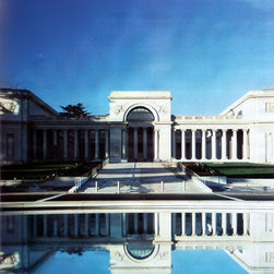 Legion of Honor Facade Street Banner Wall Art - The Legion of Honor in San Francisco is a French neo-classical feast for the eyes. The building is a replica of the 18th century Palais de la Légion d'Honneur in Paris, and it is iconic among the city's museums. Banners featuring a photo of the building are perfect for fans of the museum, lovers of classic architecture, and those who want to bring a great view to their rooms.