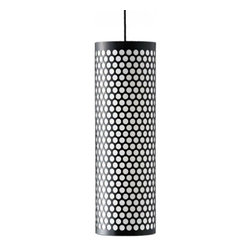 """BestLite - BestLite Ana Pendant Lamp - Product Details:    The PD-5 Ana Pendant Lamp from the Pedrera Collection from Bestlight. This is available in a floor model and a table model with several color choices including white, black and red in different cylindrical perforated metal patterns.  Product Details:    The PD-5 Ana Pendant Lamp from the Pedrera Collection from Bestlight. This is available in a floor model and a table model with several color choices including white, black and red in different cylindrical perforated metal patterns. Details:                         Manufacturer:                        BestLight - The Pedrera Collection                                                 Designer:                        Barbar Corsini and Joaquim Ruiz Millet                                         Made in:                        Denmark                                         Dimensions:                        Height: 25"""" (63.5cm) X Width: 7.8"""" (20cm)                                                     Light bulb:                                     1 X 60W Medium Base Incandescent                                         Material:                        metal                         Bestlite has been in continuous production since the 1930's with Winston Churchill amongst its many famous users.  The Bestlite design was conceived by Robert Dudley Best who was highly infuenced by the Bauhaus movement. Bauhaus, is the German school that merged practical crafts with fine arts, which had profound infuence upon subsequent developments in art, architecture, graphic design, interior design and industrial design. The Bauhaus style became one of the most influential forces behind Modernist architecture and modern design.   Eighty years on, the Bestlite design stays close to its industrial roots and true to its original design. Bestlite is held in permanent collections at both the Victoria & Albert Museum and the Design Museum in London. Loved by architects, designers and de"""