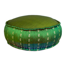 Brilliant Imports - Ikat Pouf, Emerald Green - This charming pouf knows how to make a statement--sit on it and transcend. Use as a floor pillow/cushion, pouf or as an extra seat.  Handmade in Bali with 100% cotton ikat (on the top and bottom) and gold-detailed Indian-inspired polyster fabric detailing on the sides. Vibrant emerald green with golden accents.