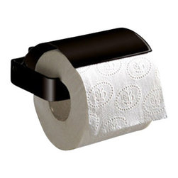 Gedy - Square Matte Black Toilet Roll Holder With Cover - Contemporary style toilet roll holder with cover. Made of brass in a matte black finish. Toilet roll holder with cover made of brass. Available in matte black finish. From the Gedy Lounge collection.