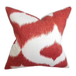 "The Pillow Collection - Leilani Ikat Pillow Cherry Red 18"" x 18"" - Liven up your indoor space with this unique and high-spirited decor pillow. This accent piece features an oversized ikat pattern in cherry red and white hues. This square pillow makes a gorgeous statement piece in your living room, bedroom or lounge area. Made with a blend of high-quality materials: 55% linen and 45% rayon. Hidden zipper closure for easy cover removal.  Knife edge finish on all four sides.  Reversible pillow with the same fabric on the back side.  Spot cleaning suggested."