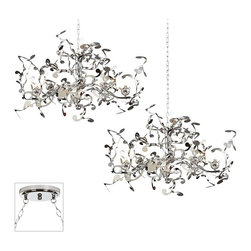 """Possini Euro Design - Traditional Curly Ribbon Chrome Double Swag Chandelier - Our multi swag chandeliers let you add designer lighting to any room. The special swag canopy installs into any ceiling junction box just like a normal ceiling light or chandelier. Install hooks in the ceiling and swag the chain to the canopy; adjust the hanging length as desired. With the hanging options you can get the exact look and light placement you need. This version features a chrome finish double swag canopy. It's paired with two designer Curly Ribbon pendants from Possini Euro Design in gleaming chrome finish. Multi swag chandelier. With two designer Curly Ribbon pendants. Includes chrome finish special canopy adaptor. Installs into any ceiling junction box. Includes swag hooks and mounting hardware. Each pendant includes 6 feet chain 12 feet wire. Includes thirty-six 10 watt halogen bulbs. Canopy is 7"""" wide. Each pendant is 36"""" wide 22"""" high. Some assembly required; instructions included.  Multi swag chandelier.  With two designer  Curly Ribbon pendants.  Includes chrome finish special canopy adaptor.  Installs into any ceiling junction box.  Includes swag hooks and mounting hardware.  Each pendant includes 6 feet chain 12 feet wire.  A large chandelier ideal for oversized rooms.  Includes thirty-six 10 watt halogen bulbs.  Canopy is 7"""" wide.  Each pendant is 36"""" wide 22"""" high.  Some assembly required; instructions included."""