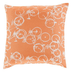 """Surya - Surya PDP-003 Pillow, 22"""" x 22"""", Down Feather Filler - Add an element of playful, imaginative humor to your decor with these dazzling pillows from designer Mike Farrell. Hand made in India in 100% polyester, this perfect piece, with a series of unique bicycle print and striking coloring will embody a vibrant, bohemian style from room to room within any home."""