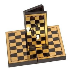 Cambor - Magnetic Pocket Size Mini Chess in Brown & Tan - Chess fans will love this pocket sized mini game board, featuring small magnetic chess pieces and a folding board. Ideal for filling time while in a waiting room or long line, this set is a great way to make sure that there is always an opportunity to play   chess. Made of Metal/Plastic. Brown/Tan color. Pocket Size Magnetic Chess Set. 5 in. L x 2.5 in. W x 1 in. H (1 lbs.)
