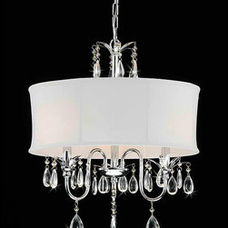 None - Crystal Chrome 3-light Chandelier - This lovely crystal chandelier is simple,yet elegant. Featuring a modern design for a streamlined look,it offers a polished chrome finish,dangling crystal accents,and a fabric shade. This chandelier requires three 60-watt chandelier bulbs.