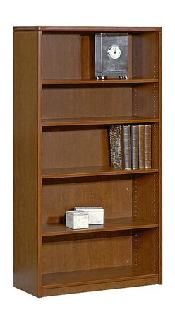 Office Star - 5-Shelf Wood Bookcase w Adjustable Height She - Color: CherryMade of Wood. Select hardwood veneers, book-matched. Solid hardwood edges. Radius wood edges on tops and modesty panels. Compound radius corners on tops. Common grain direction on tops of all components of L and U workstations. Pictured in Cherry Wood. Some assembly required. 36 in. W x 14 in. L x 42 in. H