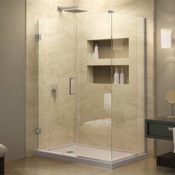 "Dreamline - Unidoor Plus 60-1/2""W x 30-3/8""D x 72""H Hinged Shower Enclosure - The Unidoor Plus Shower Enclosure will impress with the classic style of a frameless glass design. Premium 3/8"" thick clear tempered glass combined with high quality solid brass hardware deliver the rich look of custom glass at an incredible value. Let the Unidoor Plus shine on your shower space with a streamlined design and elegant touches."