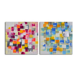 Spotted through colored glasses Hand Painted 2 Piece Canvas Set - This set of two abstract acrylics on canvas will give your house a punch of color. Hang these handcrafted works in your modern living room, above a neutral sofa for a stronger effect.
