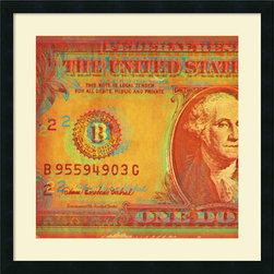 Amanti Art - Dustin Chambers 'One Buck I' Framed Art Print 26 x 26-inch - Give your decor a money minded update with this vividly colored currency, \'One Buck I\' by Dustin Chambers.