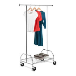 Bottom Shelf Garment Rack - Honey-Can-Do GAR-01506 Heavy-Duty Bottom Shelf Garment Rack.  A great full-featured garment rack, this unit provides extra hanging space by adjusting vertically for longer hanging items like coats and dresses, and horizontally to accommodate more items. The brilliant chrome finish adds class to the durable, rust-resistant steel frame. Set on smooth rolling casters, this garment rack easily moves from room to room. The handy bottom shelf offers additional storage space for coordinating accessories, shoes, bags, and other items making them easily accessible. Some assembly required.