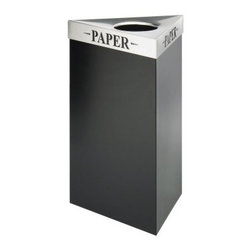 Safco Trifecta 17 Gallon Waste Receptacle Black Recycling Bin - Additional FeaturesComes with your choice of lidWeighs 31 lbs.Measures 19.5L x 19.5W x 30H inchesMake recycling easy and stylish with the Safco Trifecta Waste Receptacle Black Recycling Bin - 17-Gallon. Designed to accommodate any workplace the stainless steel lid options feature laser cut inscriptions designating the bin's use. This recycling bin's unique design holds bags out-of-site and firmly in place and can be used for cans glass paper plastic or bottles. With several lids to choose from this bin weighs 31 lbs. and measures 19.5L x 19.5W x 30H inches.