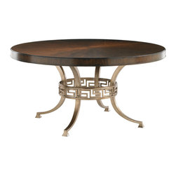Lexington - Lexington Tower Place Regis Round Dining Table 706-875C - Cathedral Walnut, featured in a radial matched pattern, adorns the top and is continued down the sides, while gold leaf metal base with Greek key design sits below.