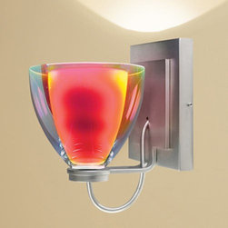 "Bruck - Bruck | Rainbow II Diamond Sconce - The Rainbow II comes with two glass shades, the inner cased glass is frosted white. The outer glass can be clear with a dichroic coating or with colored glass. The dichroic coated glass has a liquid mercury-like finish when off but when lit will show a fusion of dichroic colors. The wall sconce backplate may be mounted as a square or at an 45° angle to create a diamond shape. Sconces may be mounted as up-light or down-lights. Provides ambient illumination. Choose from halogen or LED lamping options.Canopy will cover standard 4"" junction box."