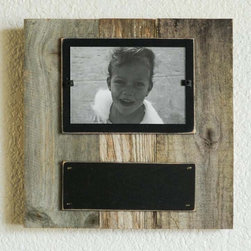 Chalkboard Reclaimed Frame - These cute reclaimed wood frames are great for table top and wall collages. Perfect for kids rooms or to give as a gift . The chalkboard allows you to customize and personalize each frame. An easy front loaded clamping system allows for quick and simple picture changes.