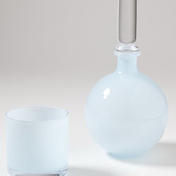 Studio A - Studio A 7.60017 Lab Opaline Blue Transitional Bedside Carafe with Glass - Hand-blown, cased Polish glass.