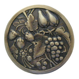 """Inviting Home - Tuscan Bounty (antique brass) - Hand-cast Tuscan Bounty Knob in antique brass finish; 1-9/16"""" diameter; Product Specification: Made in the USA. Fine-art foundry hand-pours and hand finished hardware knobs and pulls using Old World methods. Lifetime guaranteed against flaws in craftsmanship. Exceptional clarity of details and depth of relief. All knobs and pulls are hand cast from solid fine pewter or solid bronze. The term antique refers to special methods of treating metal so there is contrast between relief and recessed areas. Knobs and Pulls are lacquered to protect the finish."""