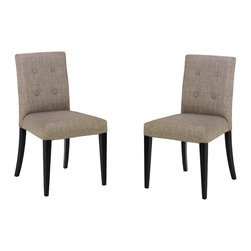 Armen Living - Wall St Fabric Side Chair, Set Of 2 - Smart looking tufted back fabric KD side chair. Makes an excellent dinette or game table chair! Armen Living is the quintessential modern-day furniture designer and manufacturer. With flexibility and speed to market, Armen Living exceeds the customer s expectations at every level of interaction. Armen Living not only delivers sensational products of exceptional quality, but also offers extraordinarily powerful reliability and capability only limited by the imagination. Our client relationships are fully supported and sustained by a stellar name, legendary history, and enduring reputation. The groundbreaking new Armen Living line represents a refreshingly innovative creative collaboration with top designers in the home furnishings industry. The result is a uniquely modern collection gorgeously enhanced by sophisticated retro aesthetics. Armen Living celebrates bold individuality, vibrant youthfulness, sensual refinement, and expert craftsmanship at fiscally sensible price points. Each piece conveys pleasure and exudes self expression while resonating with the contemporary chic lifestyle.