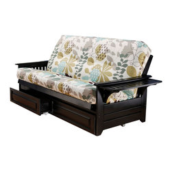 Kodiak Furniture - Phoenix Black Futon Frame with Futon Mattress in English Garden, With Full Drawe - Add a fresh floral accent to your home decor with this gorgeous futon set (solid wood frame in Black finish and innerspring mattress in English Garden cover). This futon can be used as a sofa, lounger or bed. Also you can flip up the side arms to open convenient trays for placing books, cups or anything else. Available with or without drawers.