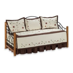 Nostalgia Home - Ambria Daybed Set - Handmade daybed set with chain-stitch embroidery on the drop of the daybed cover will be a lovely addition to your bedroom. The multi color floral vine embroidery is accented with a rich chocolate brown.