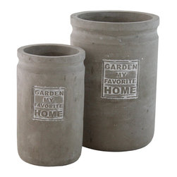 """Selectives - Favo Medium Decorative Planters, Set of 2 - This set of 2 ceramic planters play the supporting role with style, showcasing greenery indoors or out and is waiting to be filled with your favorite plants. Its taupe color finish adds to the subtle look.  Product dimensions: Large- 6""""dia x 8.5""""H; Small- 4.5""""dia x 7""""H"""