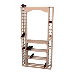Wine Cellar Innovations - Traditional Series Tasting Center Bundle - This Traditional Redwood & Pine wine rack tasting center includes One Archway (ARCH2), One Tabletop (TT2), One Rectangular Bin Wood Case (RBWC), and Two 1 Column Individuals with Display Row (1COLDS). Assembly required.
