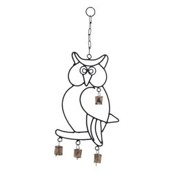 "Benzara - Wall Hanger Metal Owl Wind Chime - Enhances the positive ambience in your home with this Attractive Wall Hanger Metal Owl Wind Chime with Artistic Design. It is sure to charge up your home environment positively with this attractive wind chime. It holds a beautifully sculpted owl image that has the chime bells strung to it to produce pleasing sounds in the wind. Suitable to be hung from any location in the home, the chime occupies minimal space and brings a joyful vibrancy all around. The whole metal structure is designed lightweight so as to sway in the air easily to produce the soothing sounds. Apart from gratifying your ears with the sounds, this chime adds to the visual appeal with its looks. This chime set is made of high quality durable metal, and will grace your home for a long time to come..; Owl shaped wind chime; Made of high quality metal; Attractive wall hanger; Lightweight with delicate chain links; Weight: 0.51 lbs; Dimensions:8""W x 1""D x 19""H"