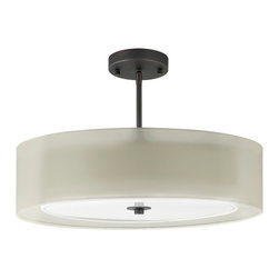 Linea di Liara - Grazia Bronze 20-Inch Three-Light Double Drum Convertible Ceiling Fixture - A clean, contemporary design allows the Grazia Collection to be used in a wide variety of environments – from sleekly modern to warm transitional and even beyond.   The collection is compatible with a number of bulb options, including incandescent (60W max), Compact Fluorescent and LED.