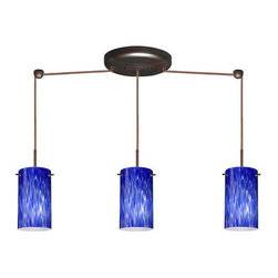 Besa Lighting - Besa Lighting 3BB-440486-HAL Stilo 3 Light Halogen Linear Pendant - Stilo 7 is a classic open-ended cylinder of handcrafted glass, a shape that will stand the test of time. Our Blue Cloud glass is full of floating, splashes of blue tones over white that almost feels like a watercolor painting. This combination of color is crisp and timeless. This decor is created by rolling molten glass in small bits of blue hues called frit. The result is a multi-layered blown glass, where frit color is nestled between an opal inner layer and a clear glossy outer layer. The handcrafted touch of a skilled artisan, utilizing century-old techniques passed down from generation to generation, creates variations in color and design that are to be appreciated. The cord pendant fixture is equipped with three (3) 10' SVT cordsets and a 3-light linear canopy, two (2) suspension stemhooks included.Features: