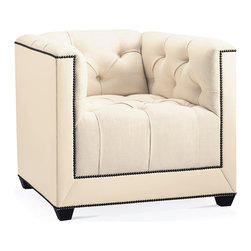 Paris Club Chair - Baker Furniture - A contemporized Chesterfield look with tufted back, arms and seat. Extensive nail head trim adds a graphic detail framing the silhouette. Tapered block feet.