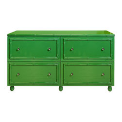Worlds Away - Worlds Away Emma Green Lacquer 4 Drawer Dresser - Kelly green is not just for dapper golf pants! This bright, effervescent four-drawer dresser is just the ticket to brighten your bedroom, hallway, kitchen or office. An Asian-inspired style with glass knobs, it arrives with feet unattached.