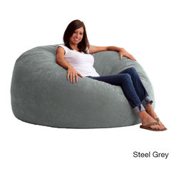 None - FufSack 5-foot King Memory Foam/ Microfiber Bean Bag Chair - A five-foot diameter makes this king-size bean bag chair a comfortable addition to any home area. Whether watching a movie or reading your favorite book, this supportive memory foam chair allows you to relax on its soft microsuede surface.