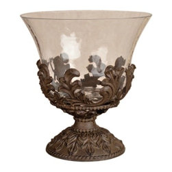 GG Collection - The GG Collection Glass Centerpiece w/ Metal Base, Baroque - The GG Collection Glass Centerpiece w/ Metal Base, Baroque