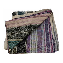 Kantha Quilt Black and Purple - Hand stitched from scraps of vintage saris, this kantha quilt is unbelievably soft and truly one-of-a-kind. The combination of patterns and colors is a hallmark of these traditional Indian quilts and they provide a fun compliment to any neutral space.