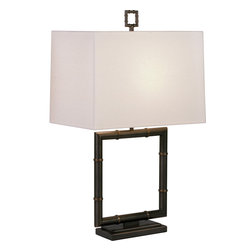 Robert Abbey - Jonathan Adler Meurice Table Lamp, White Linen - This lamp is such a square. Its geometrically pleasing lines give it a great transitional style that makes it equally at home in your traditional living room or modern office.