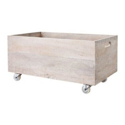 Serena & Lily - Rolling Storage Crates Whitewashed (Large) - Great as a rolling book cart, toy bin or catchall for odds and ends. Whitewashed by hand with subtle distressing for vintage style, no two are exactly alike. Detailed with cutout handles and white casters.